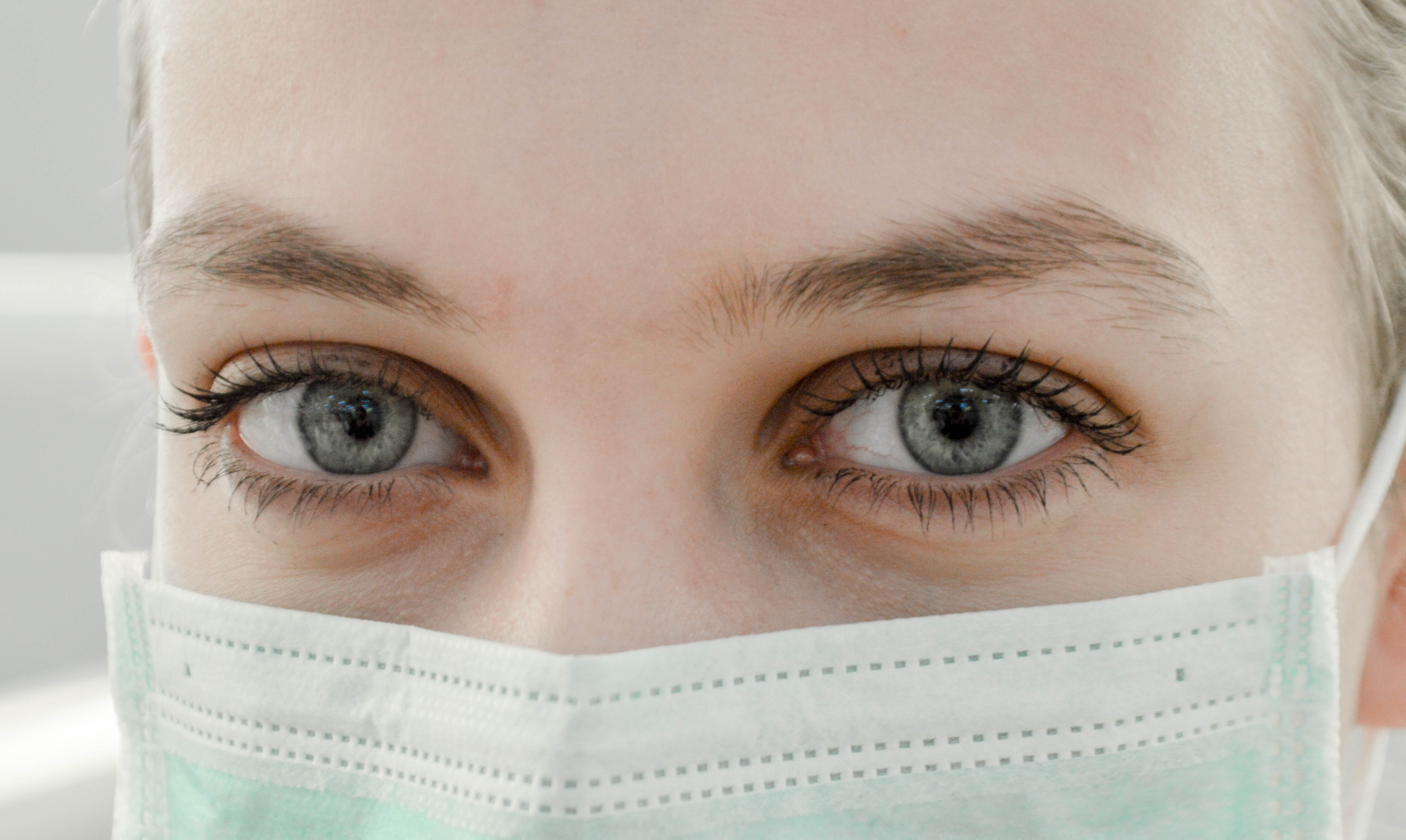 Woman with a hospital mask